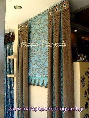 Interior design-curtains. Curtains decoration.Patterns of curtains. Mara Papado - Designer's workroom - Curtains ideas - Designs: Κουρτίνες, μοντέρνα σχέδια Ρόμαν, Πακέτα
