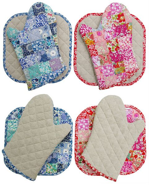 Red Pepper Quilts: Liberty Tana Lawn Oven Mitts and Potholders