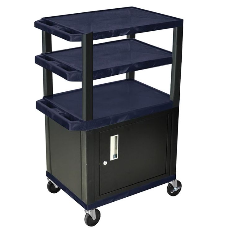 Offex Navy/Black Rolling Height Adjustable Tuffy Cart/ Lockable Storage Cabinet (Cart), Blue