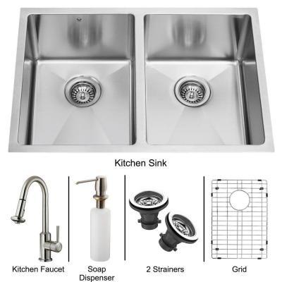 Vigo Undermount Stainless Steel Sink Set
