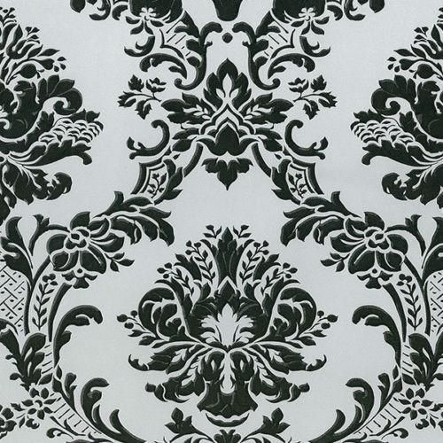 Modern Damask Black on Silver Wallpaper (With images