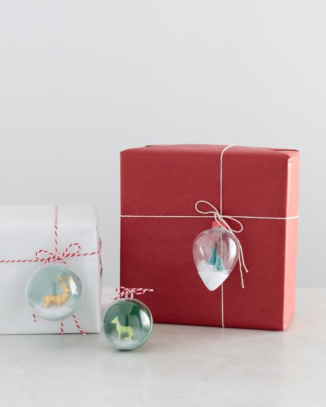 Craft Painting - Ornament Gift Toppers. Cute wintery scenes inside glass ornaments using reindeer and Christmas tree figurines are the perfect gift topper!