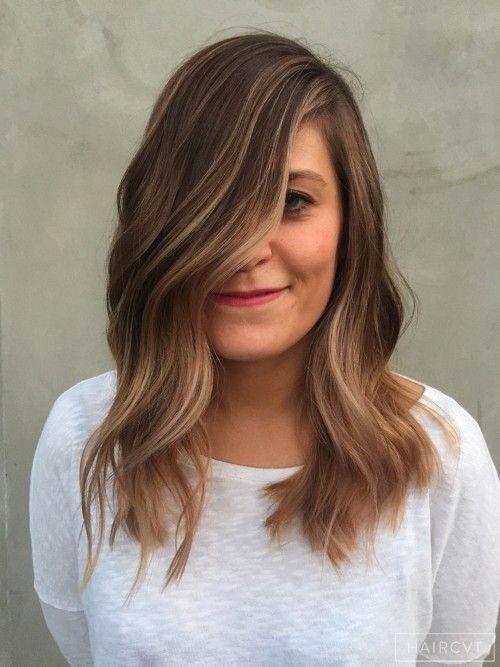 Female, Medium, Dark, Straight, Medium Ombre Beach Waves Dip Dye Bronde Wavy Hair Ecaille Olaplex Sun Kissed Balayage Pink  hairstyle