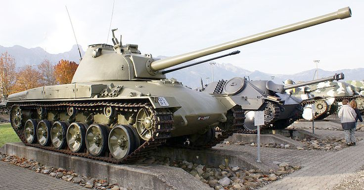 Panzer 58 (Pz 58)  Switzerland turned to an indigenous tank design in 1958, when her western allies were committing their resources to the Korean War.  It used a conventional design and was intended to counter Soviet T-54 MBTs.  The line was developed through the Pz 61, but Switzerland has since replaced them with German made Leopard IIs.