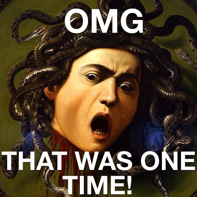 Caravaggio's Medusa swears she only made out with a hot dog once, but we don't believe this lying betch. #meangirlsarthistory #meangirls #arthistory #art #caravaggio #medusa #medusahead