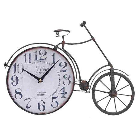 Antiqued Metal Desk Clock With A Vintage Inspired Bicycle