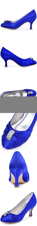 ElegantPark HC1526 Women's Pumps Satin Rhinestones Closed Toe Mid Heel Wedding Party Dress Shoes Royal Blue US 11
