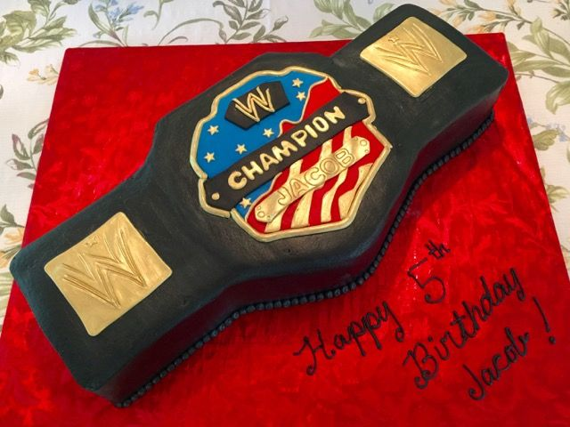 WWE Belt cake - buttercream iced cake with fondant details