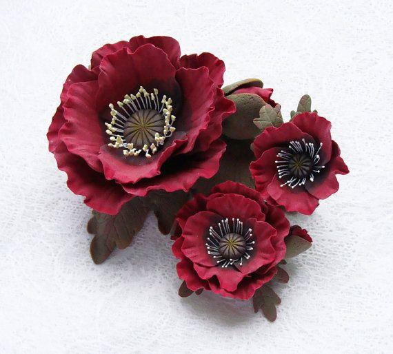 "Polymer clay jewelry set red poppy  ""Fire"". Polymer clay flowers poppy brooch, poppy ring, poppy hair clip.TO ORDER. $98.00, via Etsy."