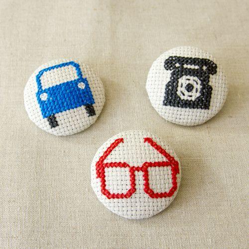 Cross stitch button - Village Haberdashery