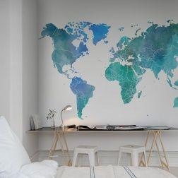 Nous vous donnons le cadre, les contours des continents et les frontières des pays – remplissez ce papier peint avec du contenu. Ce papier peint est une poudre bleue-verte.