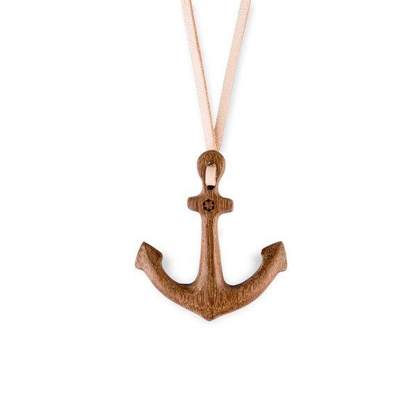 Ketten lang - float Halskette Anker  Holz Halskette  Leder  - ein Designerstück von float_ocean bei DaWanda
