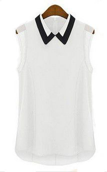 New 2014 shirt women brand summer chiffon blouse turn down collar fashion sleeveless plus size chiffon shirt tops T001-in Blouses & Shirts from Apparel & Accessories on Aliexpress.com