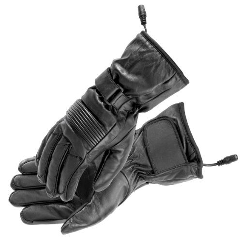 FirstGear Rider Men's Warm and Safe Heated Street Bike Racing Motorcycle Gloves - Black / X-Large