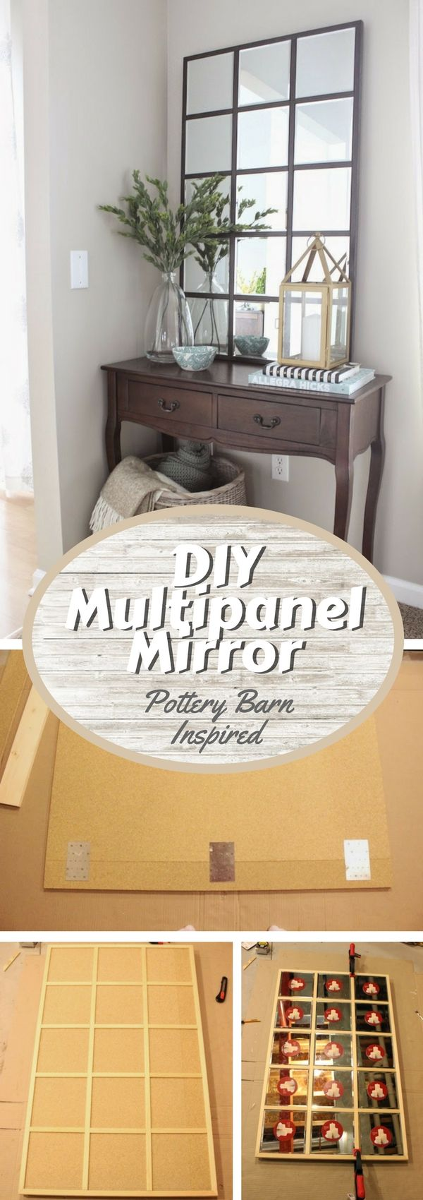 Check out how to make a DIY Pottery Barn Eagan multipanel mirror knock off @istandarddesign