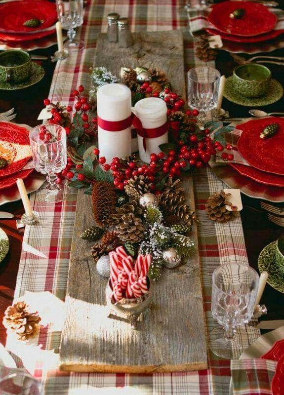 Rustikale Weihnachtstisch - Deko