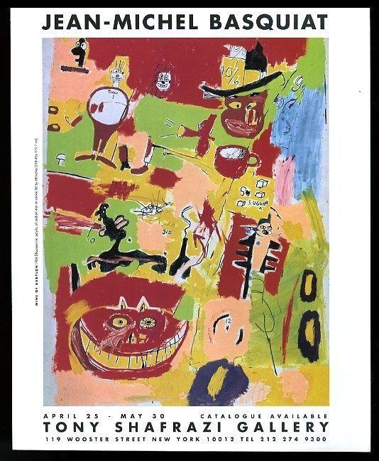 1998 Jean-Michel Basquiat red cat Wine of Babylon painting vintage print ad