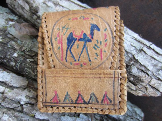 40s Hand Tooled Camel Leather Case // Cigarette Case // Vintage Souvenir Etui // Card Case