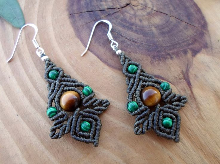 Malachite macrame earrings macrame jewelry micro por SelinofosArt