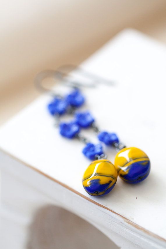 Blue and Yellow Earrings, Oxidized Sterling Silver Earrings, Mother's Day Gift, BFF Birthday Gift for Her Mom Sister Aunt under 30 dollars