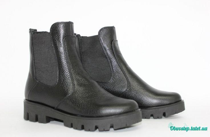 """Черные кожаные """"флотар"""" ботинки """" Челси"""" на тракторной подошве"""