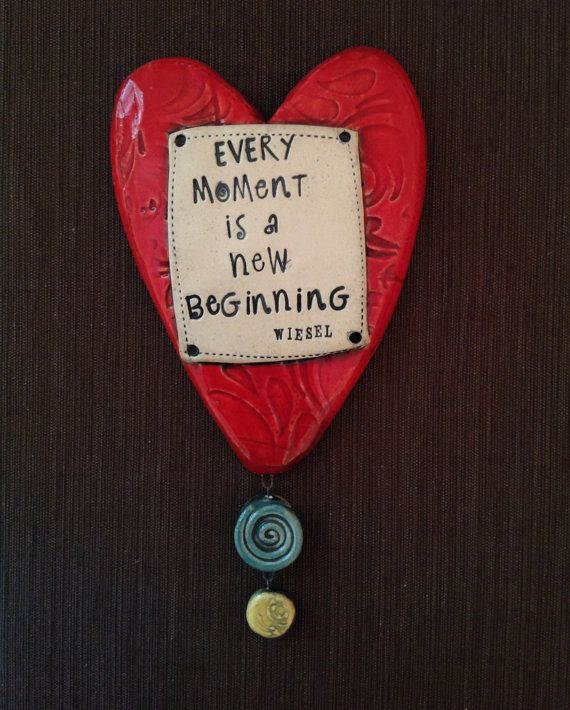 "$34.00 Ceramic Wall Plaque ""Every Moment is a New Beginning"" Wiesel  © Malena Bisanti-Wall Studio"