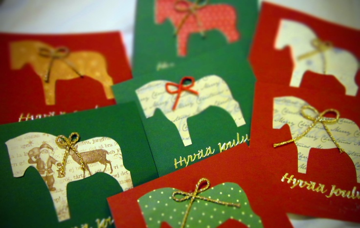 I made these cards for Christmas. Joulukortteja 2012.