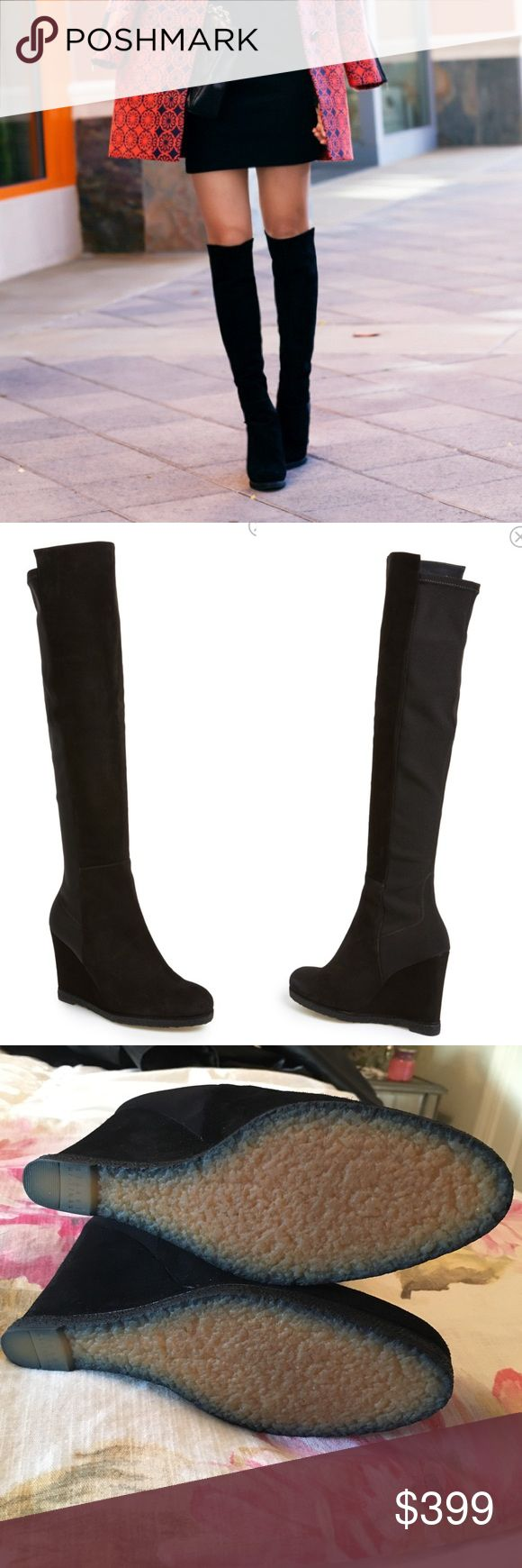 Stuart Weitzman Demiswoon Over the Knee Wedge Boot Only worn a handful of times. Size 7.5. Gorgeous black suede, wedge heel style. Very chic boots! Stretch back to ensure easy fit. Bottoms are basically unworn (texture is what these boots have when brand new). Made in Spain. No original box (I stand all my boots with display stands on a shelf, however I do have a suede duster I will ship the boots in 😘 Tags: Demi swoon heels heeled boot boots over the knee style lowland highland platform…