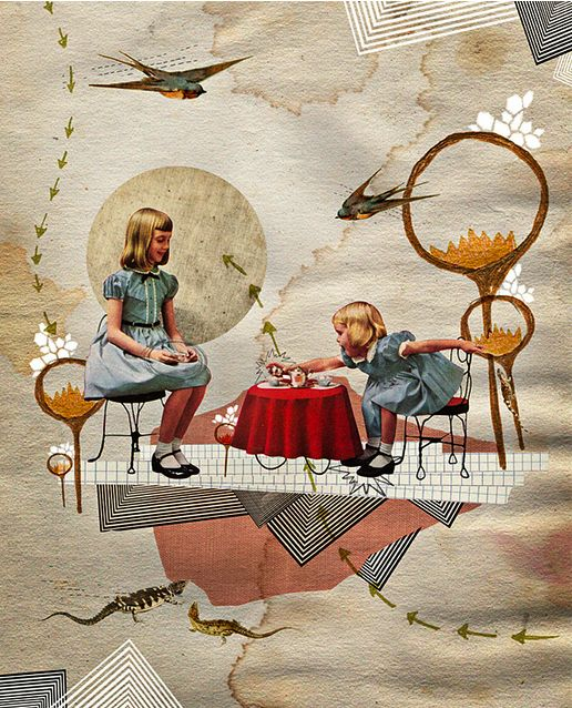 These Photo Illustration works have been inspired by children's books, British and American culture, vintage advertisements, and geometry.