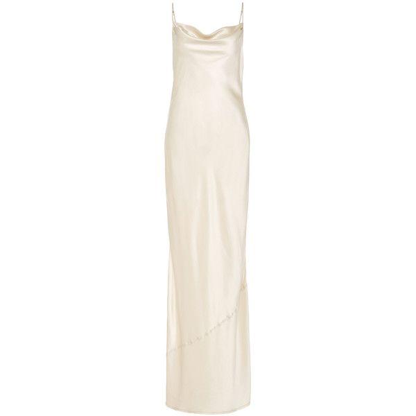 Nili Lotan Vintage Ivory Alexa Slip Dress (9.711.380 IDR) ❤ liked on Polyvore featuring dresses, gowns, slip dress, vintage ivory dress, side slit dress, ivory dress and cowl neck dress