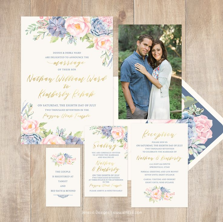 Succulent wedding invitation set with blush pink
