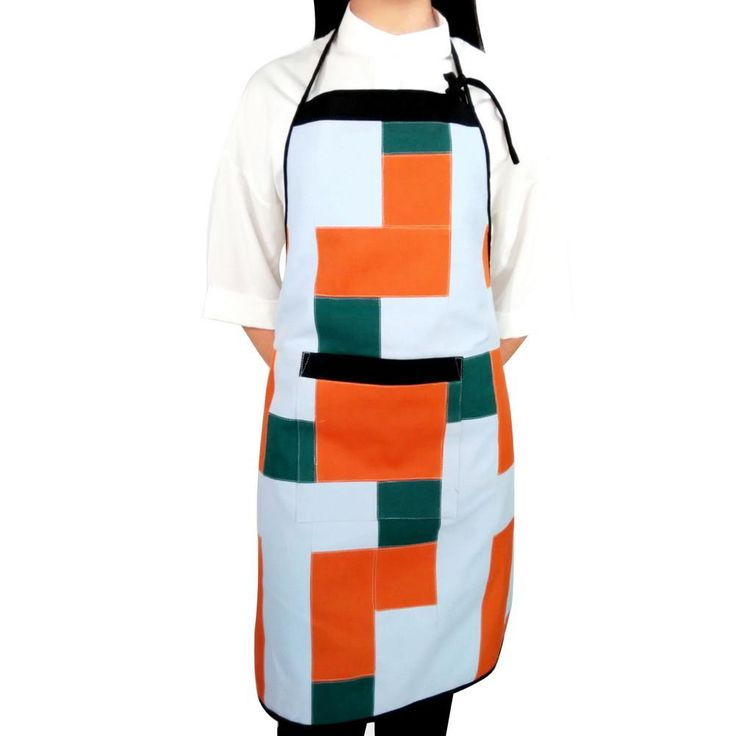 [Young] Patchwork Chef Work Apron Durable Women Men Apron with Pocket