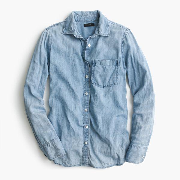 J.Crew Gift Guide: women's always chambray shirt.