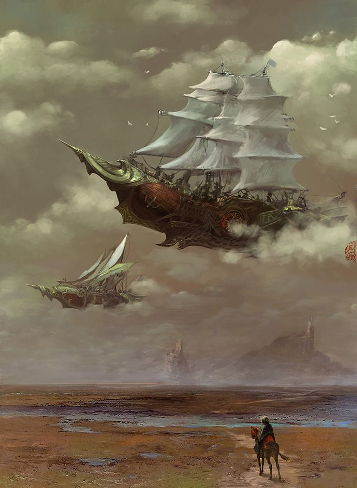 airship by chunyangwang A bit different than most of the others, but it would make sense based on different cultures and their different ships.