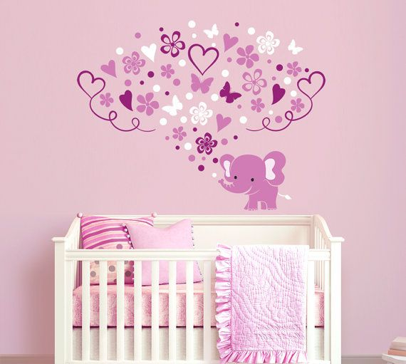 Elephant With Flowers And Butterflies Wall Decal Sticker For Nursery,  Girlu0027su2026 Part 88
