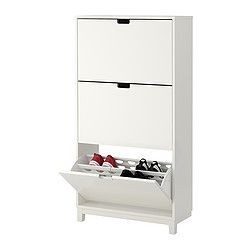 STÄLL Shoe cabinet with 3 compartments - white - IKEA - Much better in white for our room and holds more shoes! $129