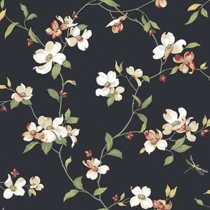 florals on black | floral wallpaper