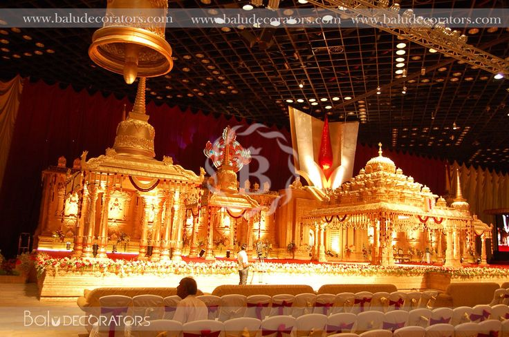 attractive goddess stage decorations for traditional wedding with that themes...!!! #decor #weddingdecor #partydecor #lightsettings #baludecorators