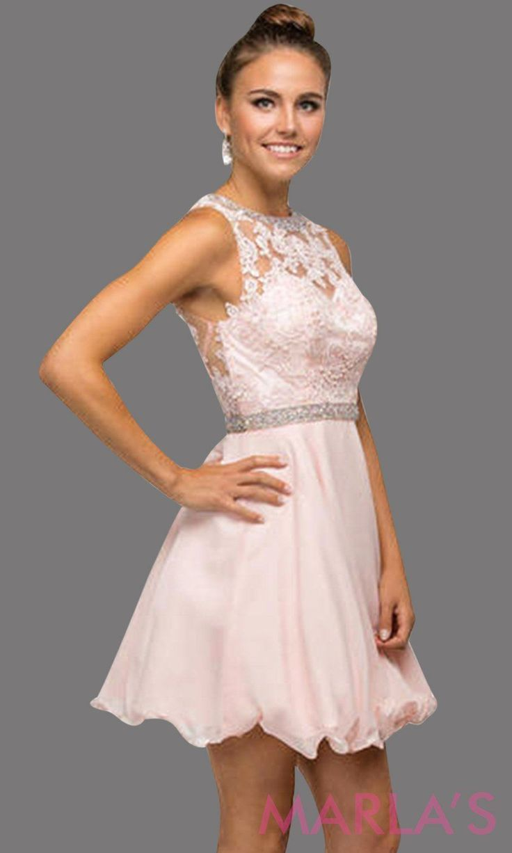 1e61b60242e61 Short blush pink graduation dress with lace bodice, beaded belt and flowy  chiffon skirt. Perfect for grade 8 grad, short pink prom dress, quinceanera  damas, ...