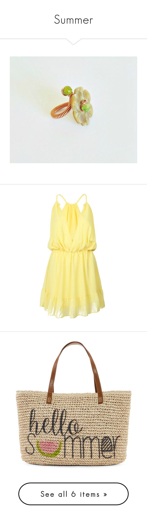 """Summer"" by styledonna on Polyvore featuring jewelry, rings, dresses, vestidos, elastic dress, beige dress, plunge neck dress, yellow day dress, plunging neckline dress i bags"