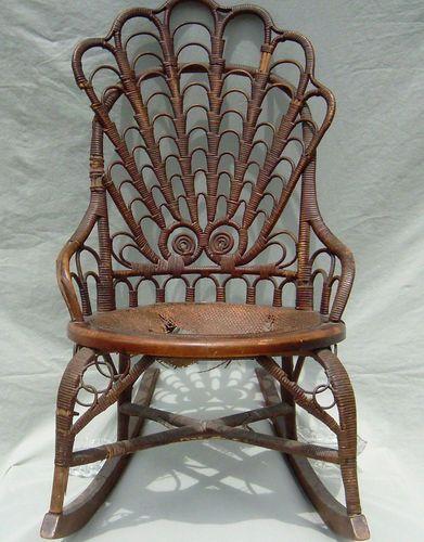 Antique Rattan Wicker Rocking Chair Heywood Broth. Heywood Wakefield Must  See
