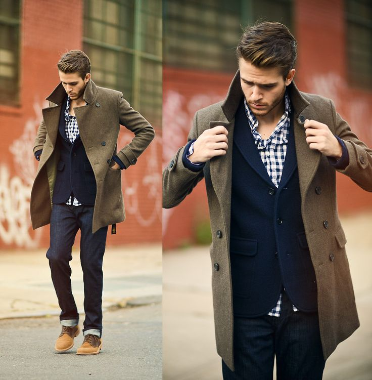 Shop this look for $841:  http://lookastic.com/men/looks/longsleeve-shirt-and-jeans-and-derby-shoes-and-overcoat-and-blazer/1221  — Navy and White Gingham Longsleeve Shirt  — Navy Jeans  — Tobacco Suede Derby Shoes  — Olive Overcoat  — Navy Wool Blazer