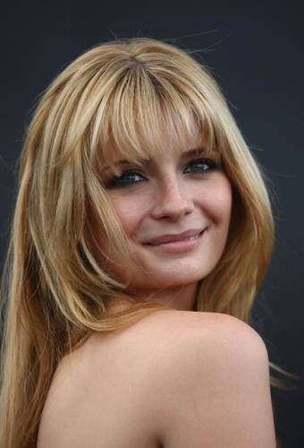 blonde highlights, bangs
