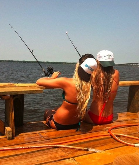 bikinis, backwards hats, sun, boats, and fish! Can this be us this summer? @Emma Maglier