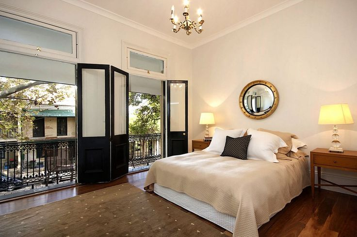 Black balcony doors in the bedroom   | Usual House