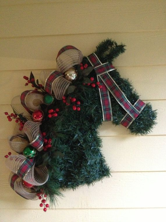 Christmas horse wreath by ChristmasHorseWreath on Etsy
