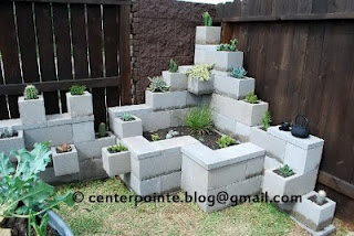 Cinder block garden...  to go with the cinder block benches