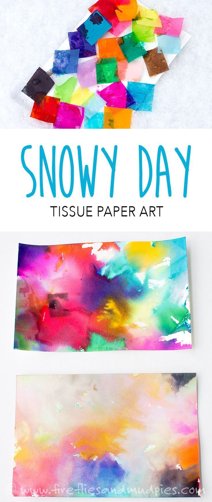 Snowy Day Tissue Paper Art | Fireflies and Mud Pies **Grade 1 and also Prep1!