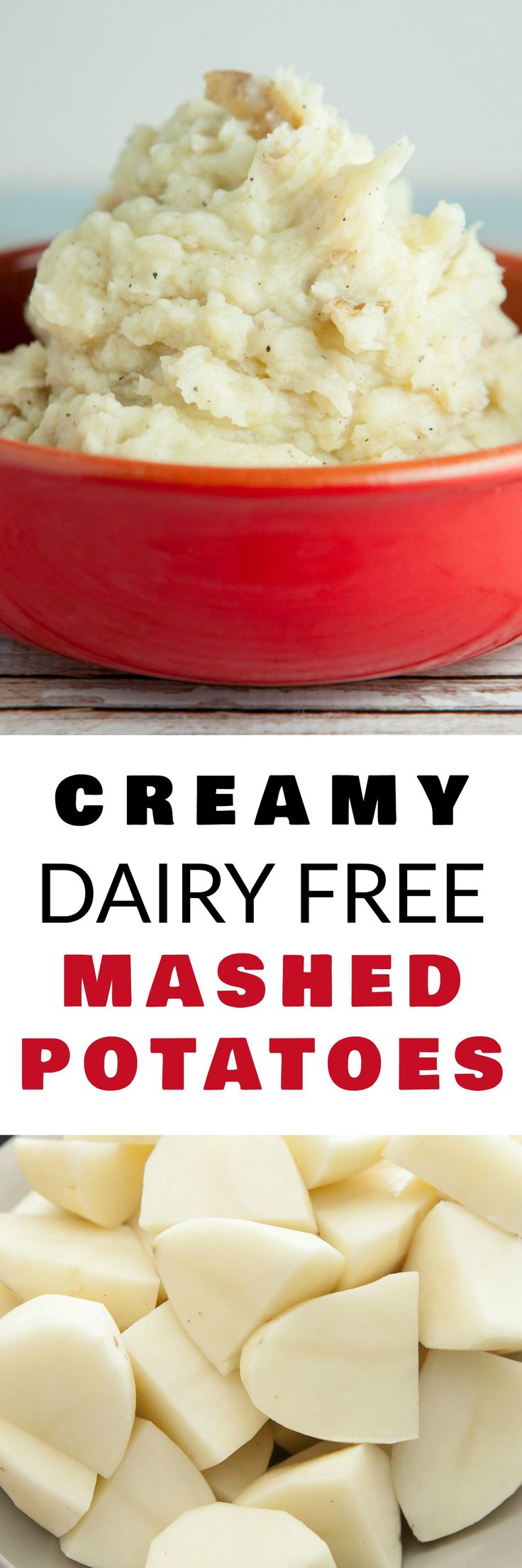 These CREAMY Garlic DAIRY FREE Mashed Potatoes are the best!  Enjoy this easy to make mashed potatoes recipe that uses broth and olive oil instead of dairy products!  Perfect for everyday dinner or Thanksgiving – you won't believe how good these are!