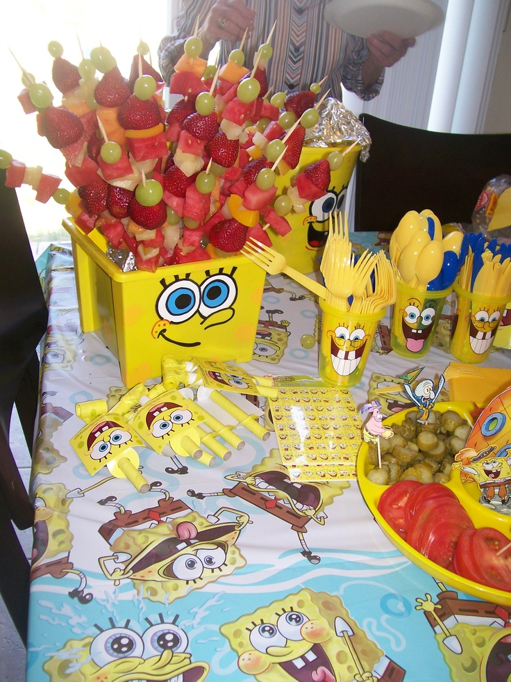 Sponge Bob buckets and party decorations.  other buckes can be filled with other party foods